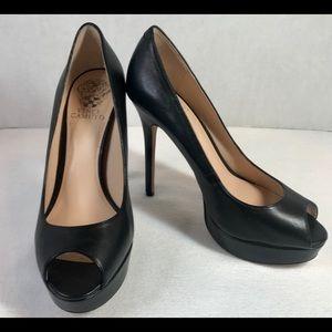Vince Camuto Blk Platform High Heel Peep Toe Shoe